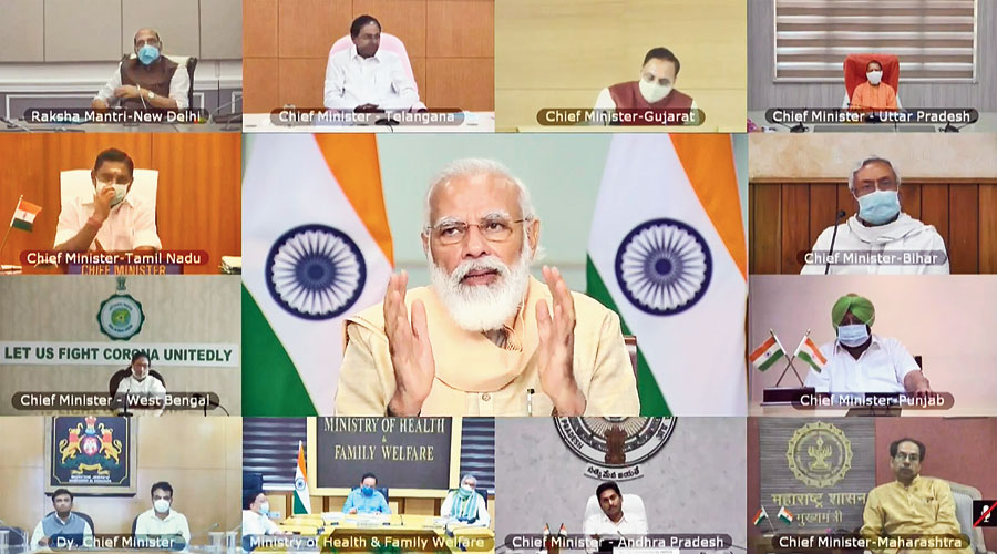 Prime Minister Narendra Modi speaks during the videoconference with the chief ministers on Tuesday.