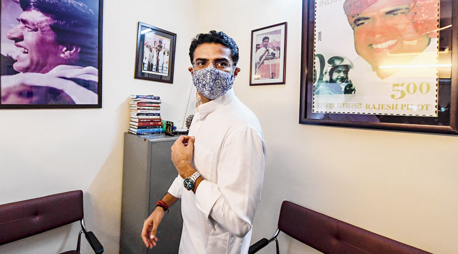 Sachin Pilot interacts with the media at his residence in New Delhi on Tuesday.