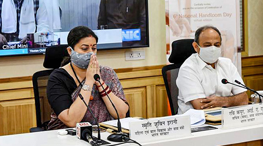 Union minister for textiles Smriti Irani takes part in the sixth National Handloom Day celebrations via videoconferencing in New Delhi on Friday.