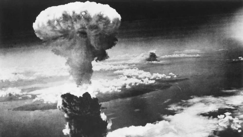 Mushroom cloud from atom bomb that exploded over Nagasaki, Japan, on August 9, 1945.