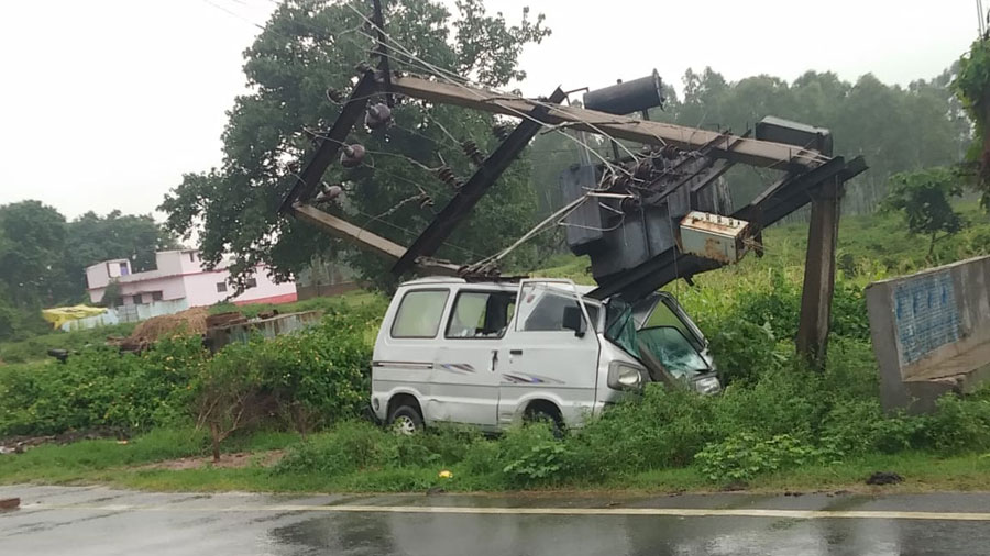 The van which hit the pole-mounted transformer on Wednesday.
