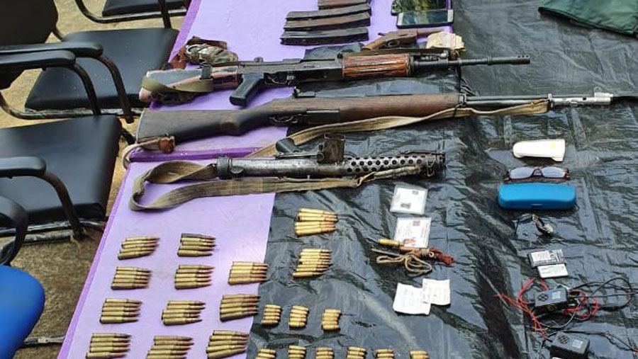 The seized arms and ammunition