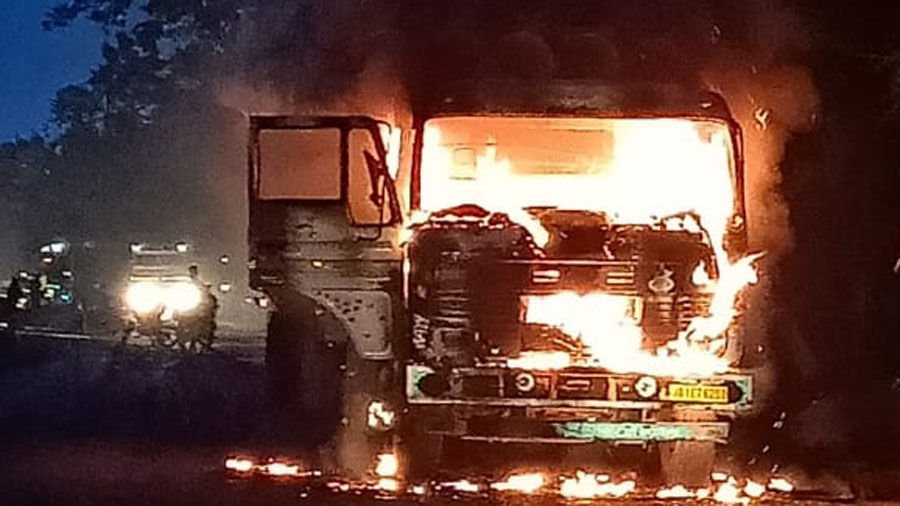 Fire engulfs the truck on Ranchi-Patna highway on Wednesday.