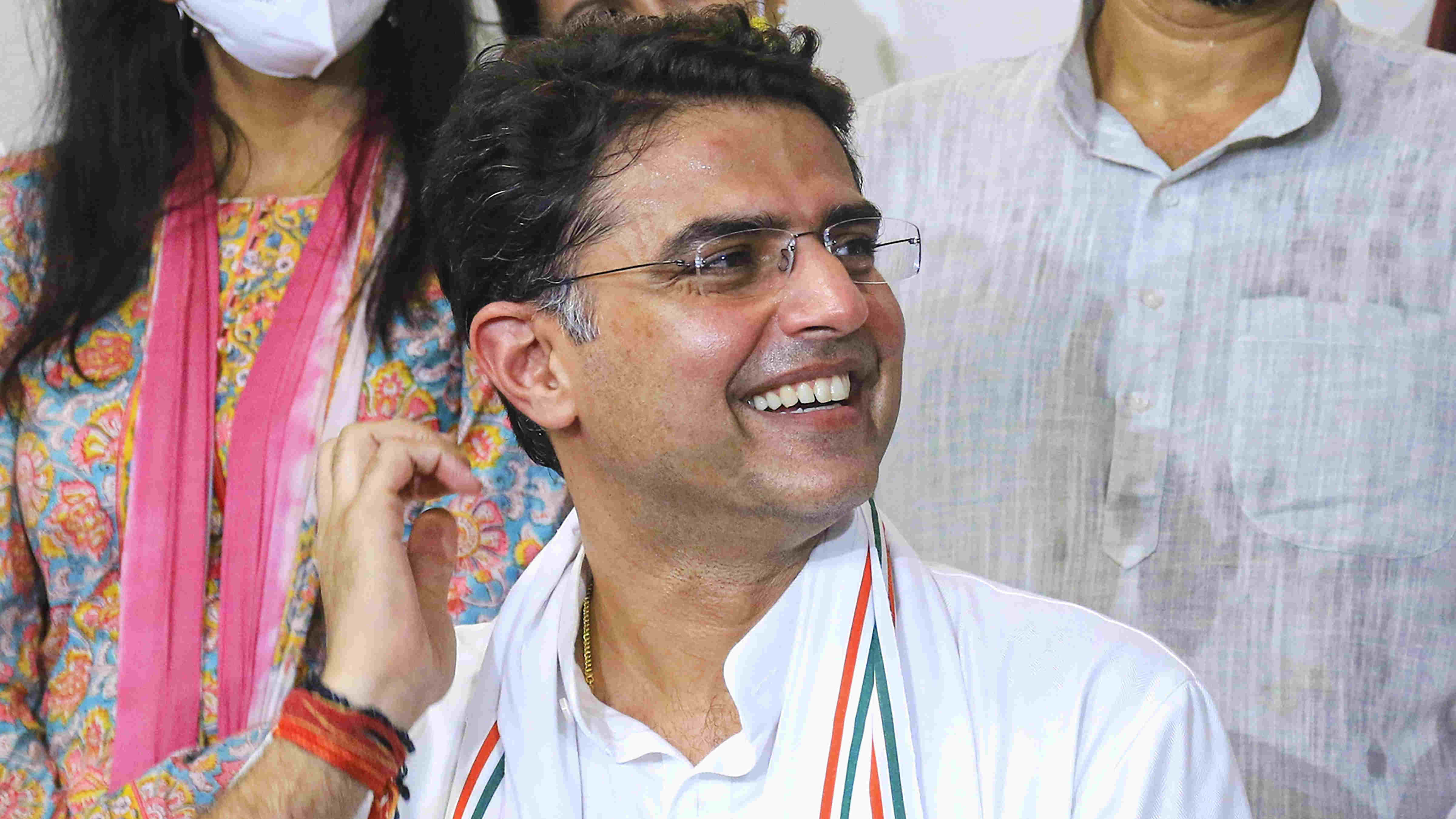 Congress leader Sachin Pilot addresses a press conference at his residence in Jaipur, Tuesday, Aug 11, 2020.