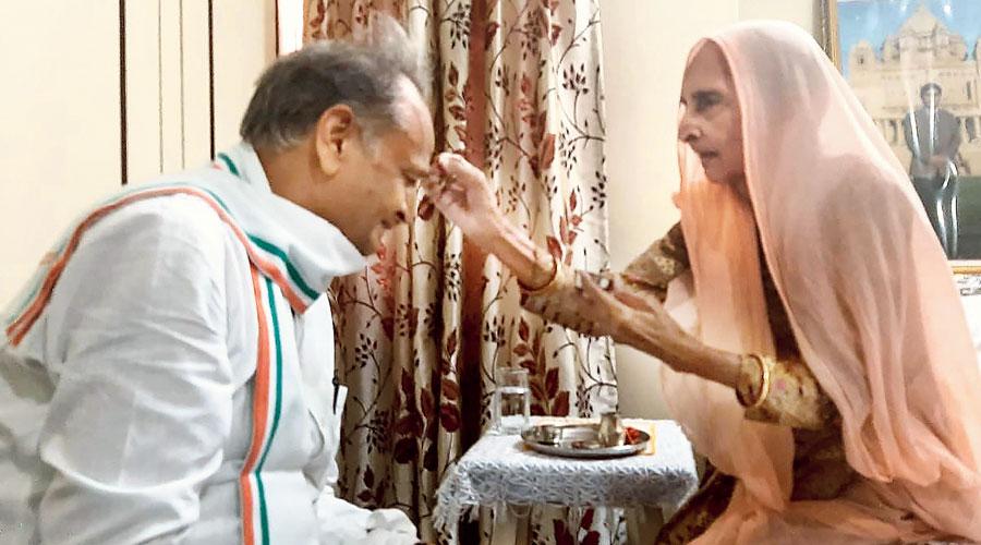 Rajasthan chief minister Ashok Gehlot celebrates Raksha Bandhan with his elder sister Vimla Devi during his visit to Jodhpur on Wednesday.