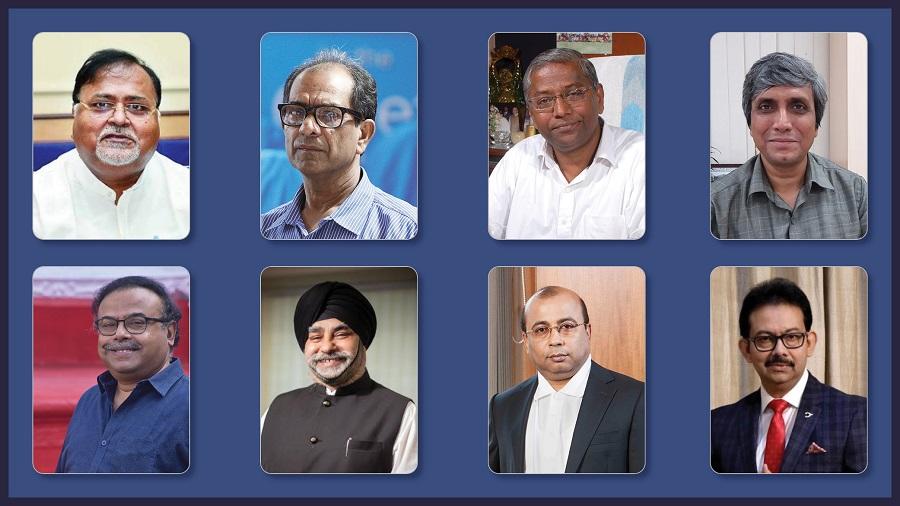 Bengal Education Leaders' Summit: (First row) Education minister Partha Chatterjee, Suranjan Das, Father Felix Raj and Saikat Maitra.(Second row) Anupam Basu, Taranjit Singh, Samit Ray and Satyam Roy Chowdhury.