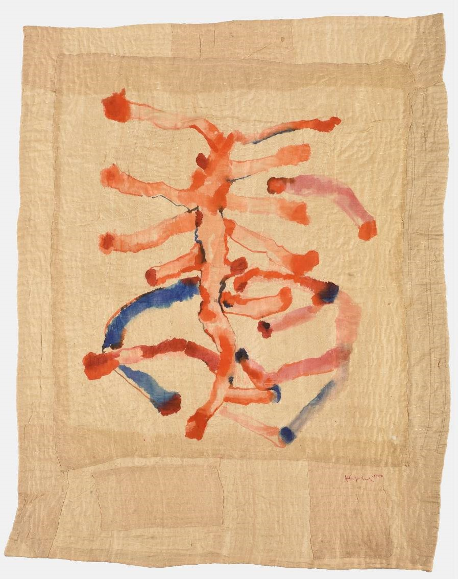 Kingshuk Sarkar: Part of the Situation: Japanese ink, Indian ink, water colour, PVA and hand embroidery kantha quilt over tussar silk: 2020