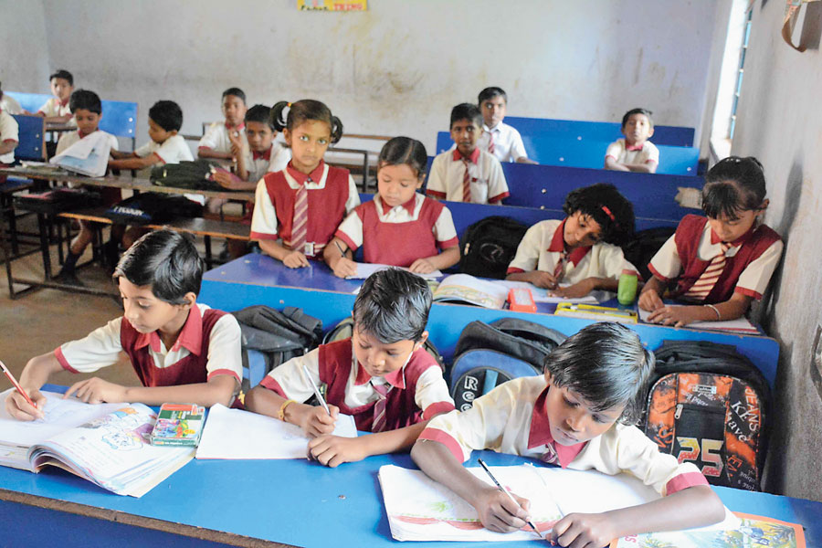 Tribal students at a  state-owned school near Jamshedpur.