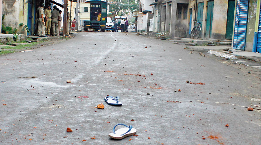 A spot in Bhatpara after bombs were hurled.
