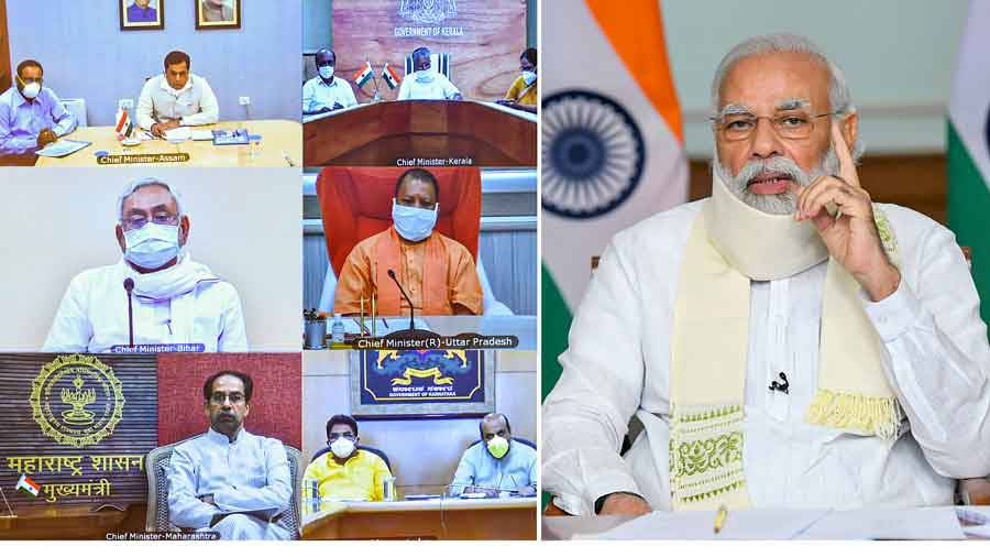 Narendra Modi in a meeting to review the flood situation and its management in the country, through video conferencing, in New Delhi, Monday, August 10, 2020.