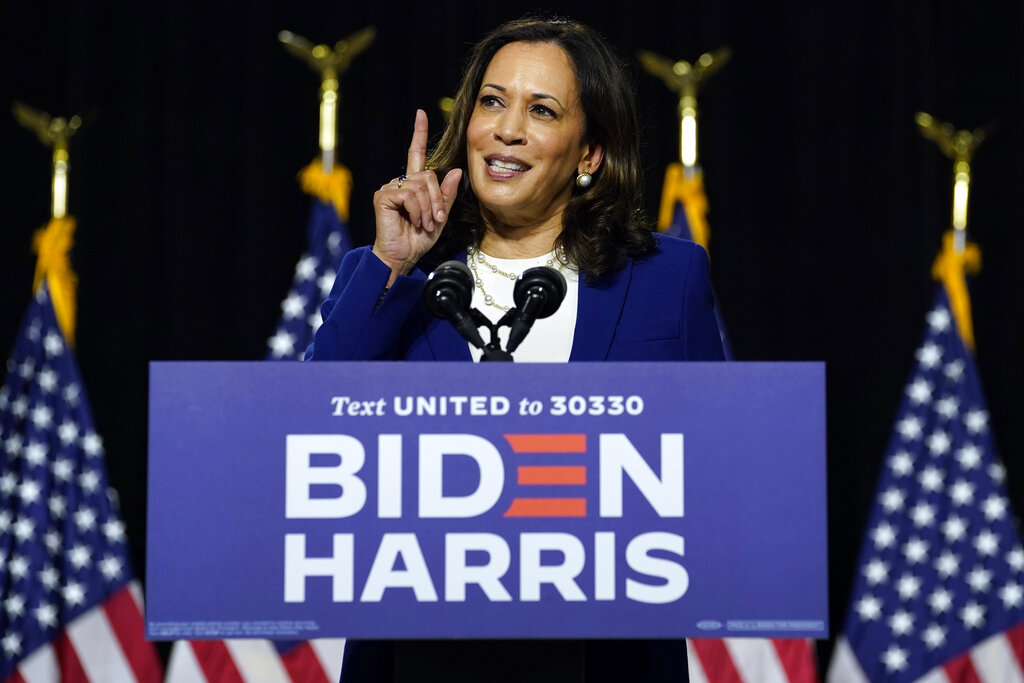 Kamala Harris, D-Calif., speaks after Democratic presidential candidate former Vice President Joe Biden introduced her as his running mate during a campaign event at Alexis Dupont High School in Wilmington, Wednesday, August 12, 2020.
