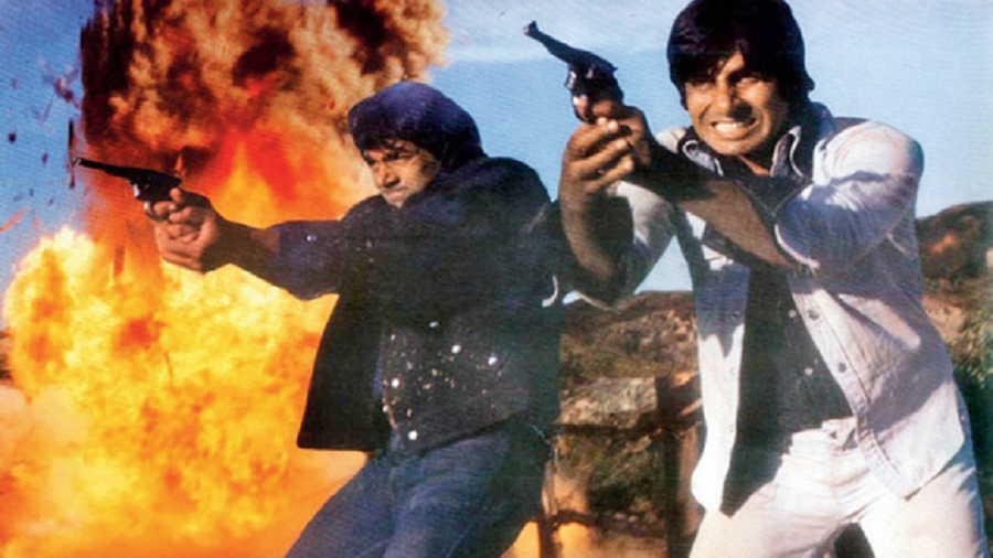 Dharmendra as Veeru and Amitabh Bachchan as Jai in Sholay