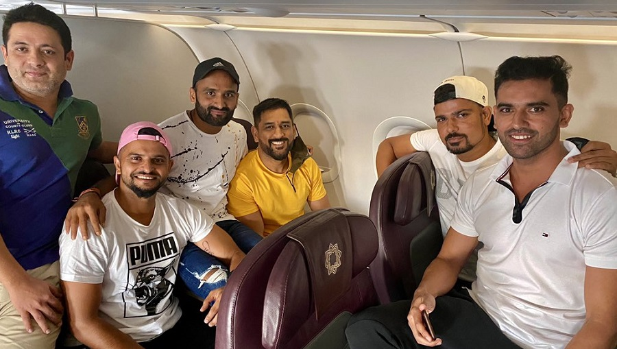 Dhoni and his teammates.