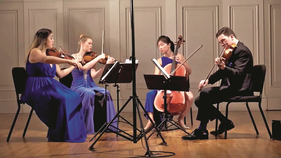 Screen grabs from online streams on Music Mountain's YouTube page of performance by the Ulysses Quartet.