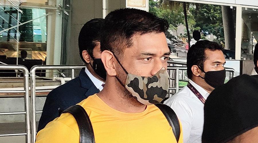 CSK captain Mahendra Singh Dhoni at Chennai airport on Friday.