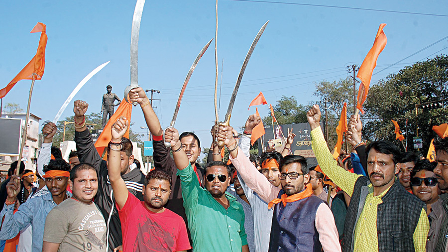 VHP and Bajrang Dal cadres rally on Shaurya Divas (Day of Pride), on the 24th anniversary of Babri Masjid demolition, in Dhanbad.