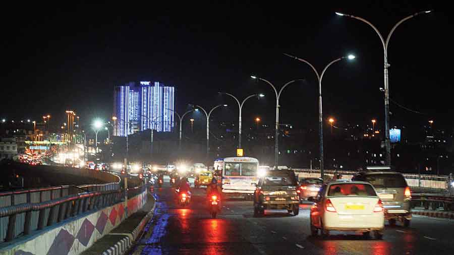 Decked out: Nabanna lit up on the eve of Independence Day on Friday