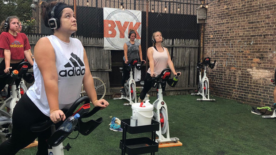 This month, the spinning company, BYKlyn Cycle, is opening BYKlyn Yard, a pop-up outdoor studio complete with fake grass.