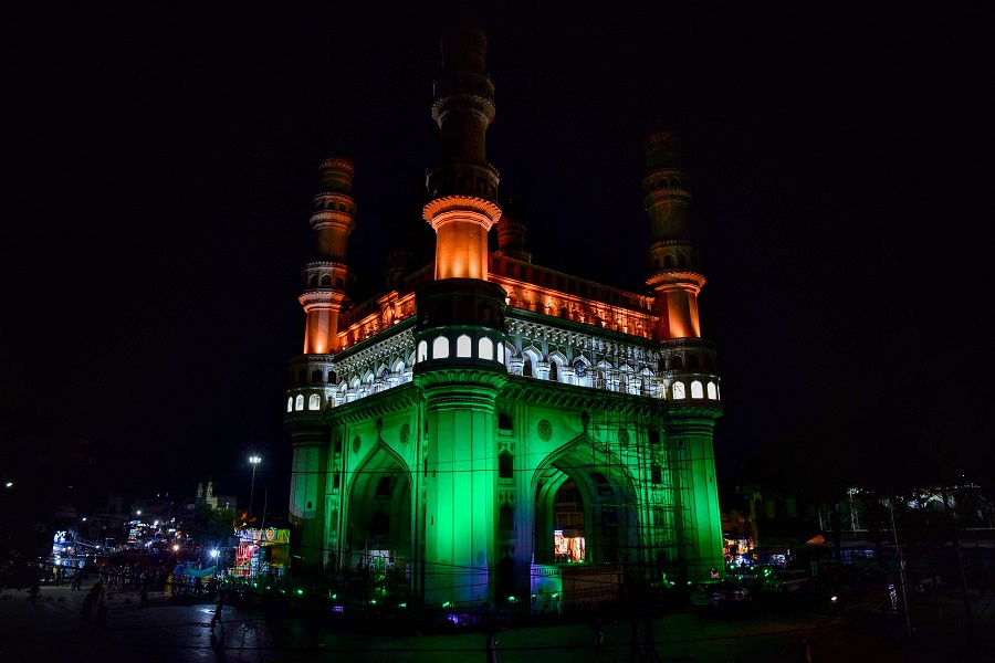 Historic Charminar illuminated on the eve of 74th Independence day celebrations, in Hyderabad.