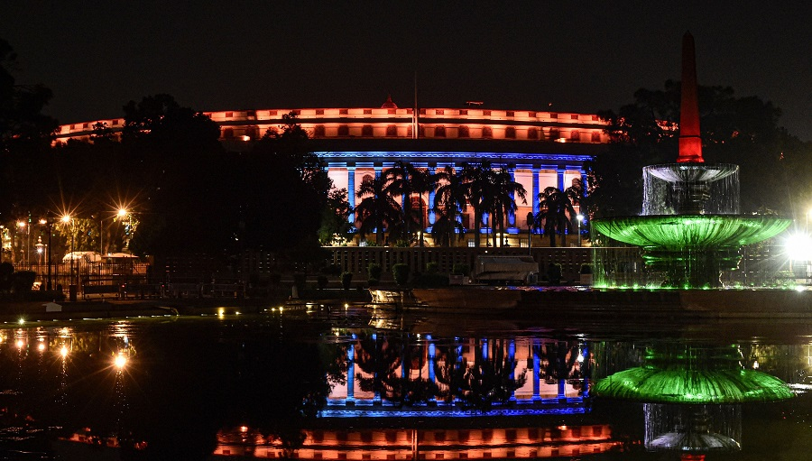 Parliament House illuminated on the eve of Independence Day, in New Delhi.