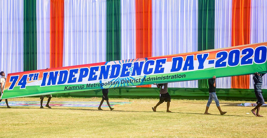 Workers busy in preparations for the upcoming 74th Independence Day celebrations, at Judge's field in Guwahati.