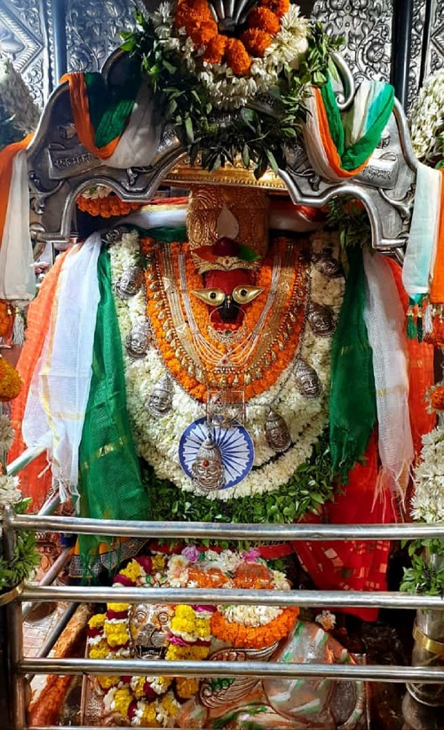 Goddess Vindhyavasini draped in the Tricolour at her temple near Mirzapur, UP on Saturday.