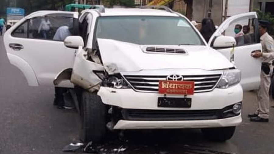 Damaged SUV of MLA Amba Prasad