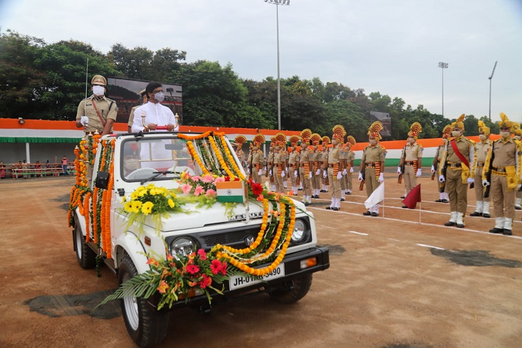Chief Minister Hemant Soren inspecting the Independence Day parade at Morabadi ground in Ranchi on Saturday