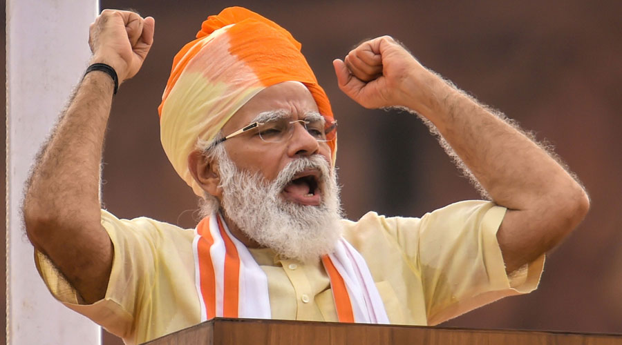Narendra Modi addresses the nation during the 74th Independence Day celebrations at Red Fort in New Delhi on Saturday.