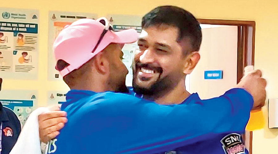Mahendra Singh Dhoni and Suresh Raina, who announced their retirement from international cricket on Saturday night, in Chennai.
