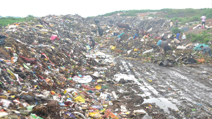 A garbage dumping site at Baniahir, Jharia, in Dhanbad