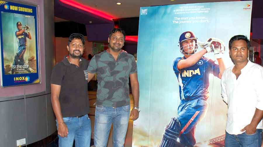 Dhoni's cricket mates (from left) Manish Vardhan, Ratan Kumar and Chandra Mohan Jha at Inox during the release of the movie, MS Dhoni-The Untold Story, in September 2016 in Dhanbad.