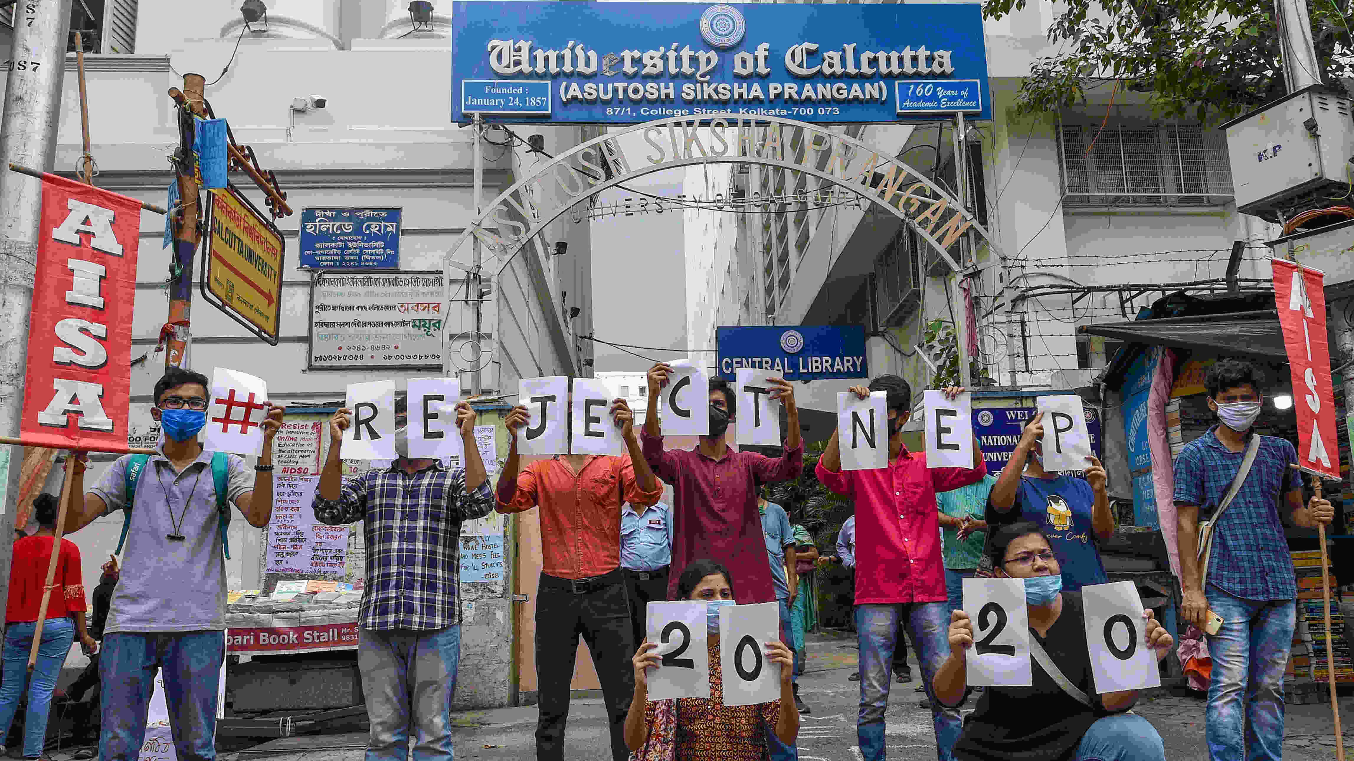 Members of All India Students Association during a demonstration against the National Education Policy 2020, in Kolkata, Wednesday, Aug 12, 2020.