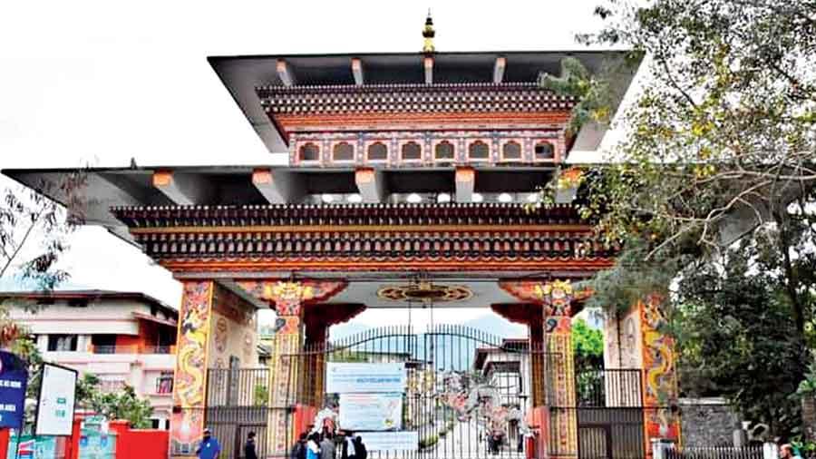 The closed gate near Phuentsholing, Bhutan's business capital