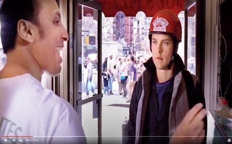 Aasif Mandvi with Tobey Maguire in a scene from Spider-Man2