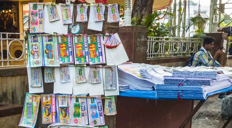 According to the flyers pasted across the area, the sale of lottery tickets and alcohol entails the highest fine of Rs 7,000