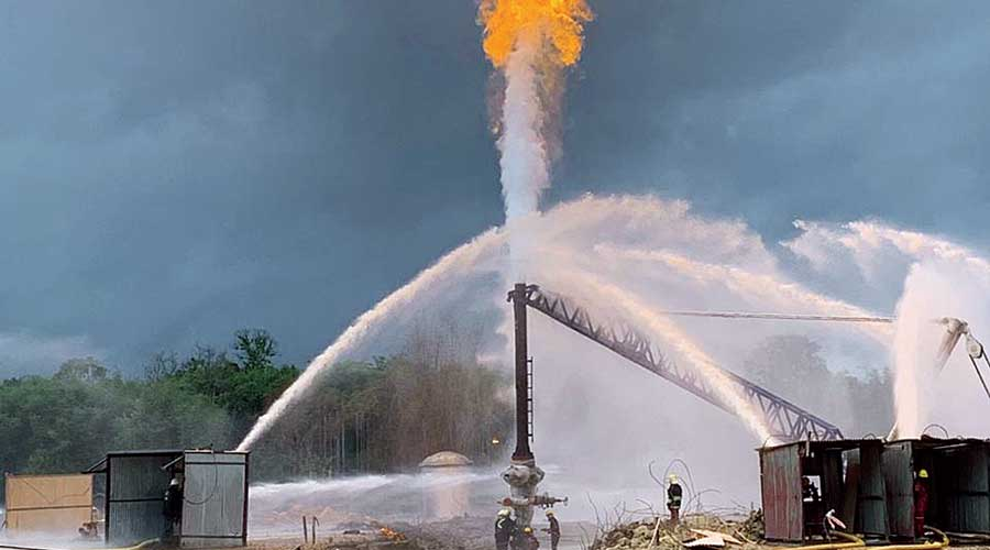 Water being sprayed to protect the blowout preventer