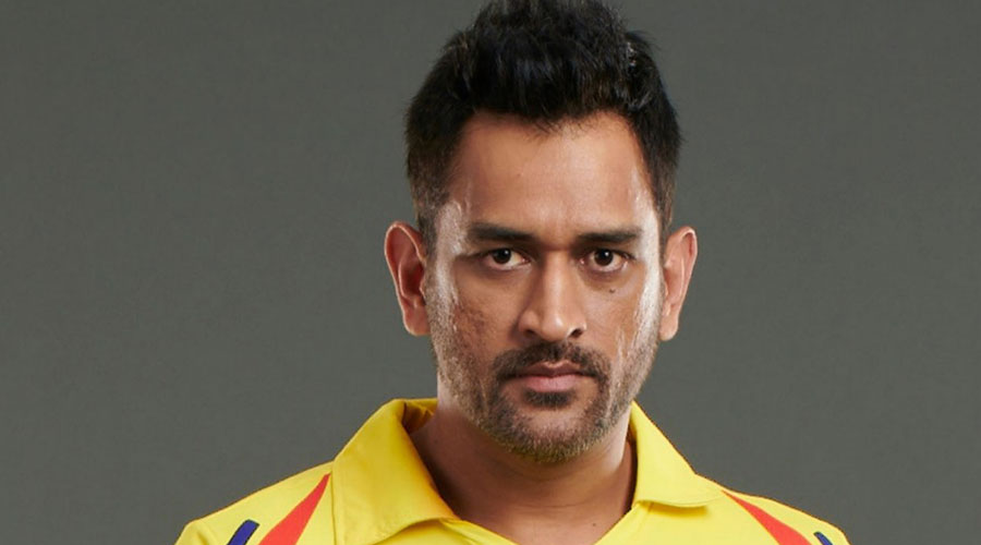 Mahendra Singh Dhoni in CSK colours in a Twitter post