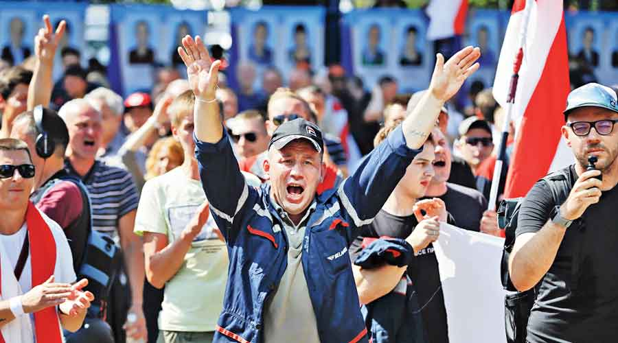 Workers protest at the Minsk Motor Plant in  Minsk on Monday