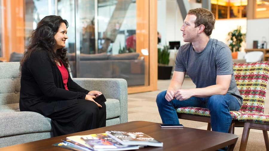 Facebook's policy chief in India Ankhi Das with Mark Zuckerberg, the social media platform's CEO