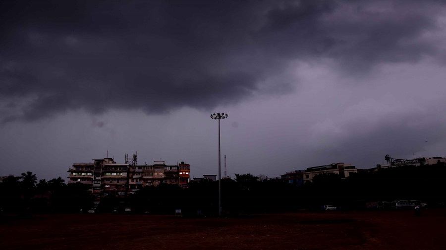 Dark clouds gather over Sakchi in Jamshedpur on Wednesday