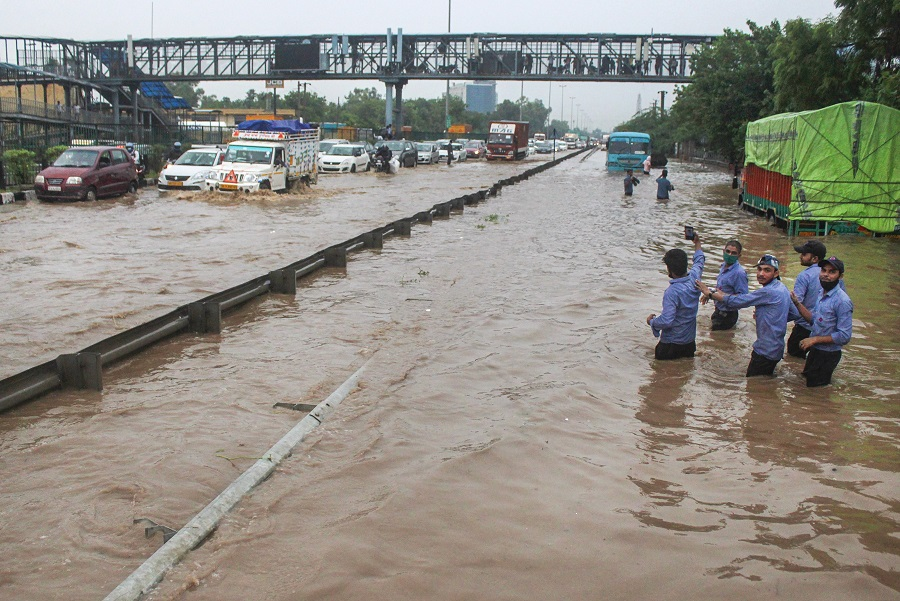 Waterlogged Delhi-Gurgaon Expressway near Narsingpur after heavy rains on Wednesday