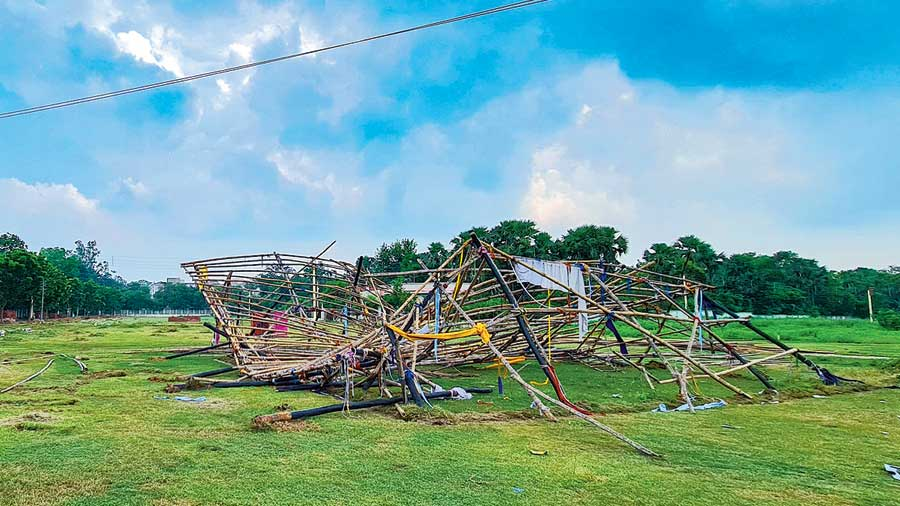 The site of the Pous Mela ground in Santiniketan on Tuesday, a day after the vandalism