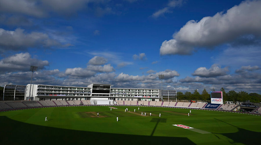 A general view of the Ageas Bowl during the fifth day of the second cricket Test match between England and Pakistan in Southampton on Monday.