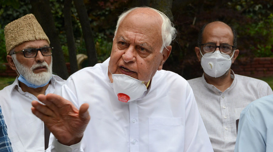 National Conference President Farooq Abdullah addresses a news conference after holding a meeting with party leaders, including those leaders who were detained post-August 05, 2019 and released recently, at his residence in Srinagar, Thursday, August 20, 2020.