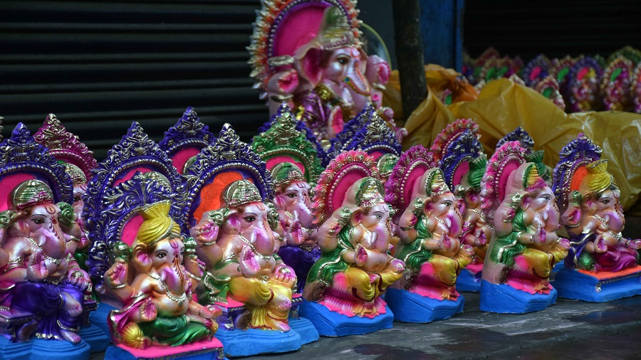 Ganesh idols for sale at Sakchi on the eve of Ganesh Chaturthi on Friday in Jamshedpur