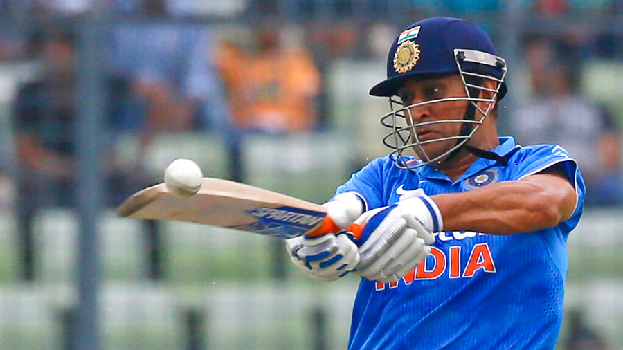 In this Wednesday, June 24, 2015 file photo, Indian cricket captain Mahendra Singh Dhoni plays a shot during the third one-day international cricket match against Bangladesh in Dhaka, Bangladesh. India great Dhoni announced his retirement from international cricket on Saturday, Aug. 15, 2020.