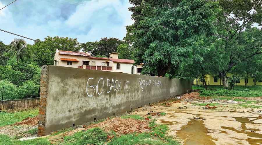 A new wall put up at Ratanpally in Santiniketan