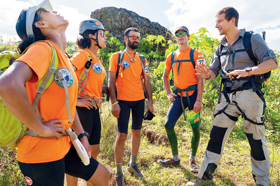Tashi and Nungshi Malik and their teammates have a word with Bear Grylls on World's Toughest Race: Eco-Challenge Fiji, streaming on Amazon Prime Video