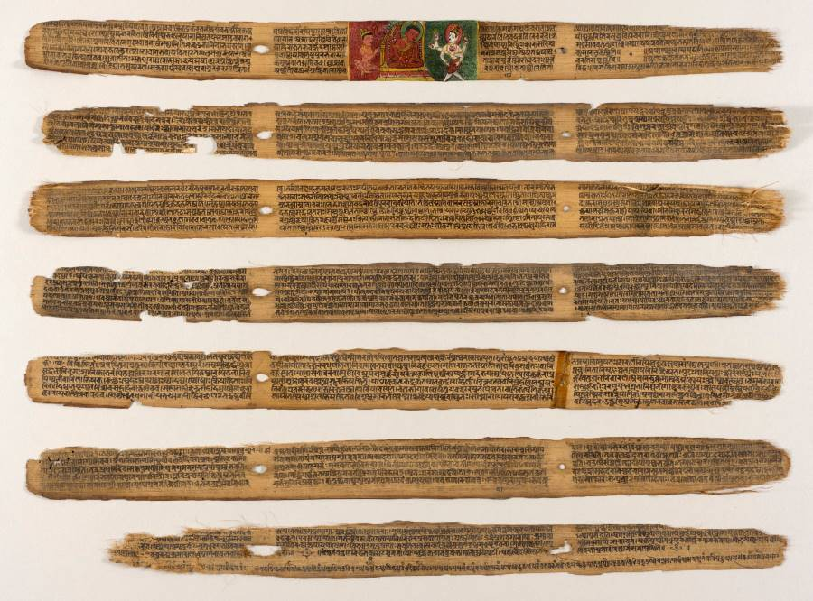 Part of Sushruta Samhita, an ancient treatise on medicine and surgery, written on palm leaves by Sushruta